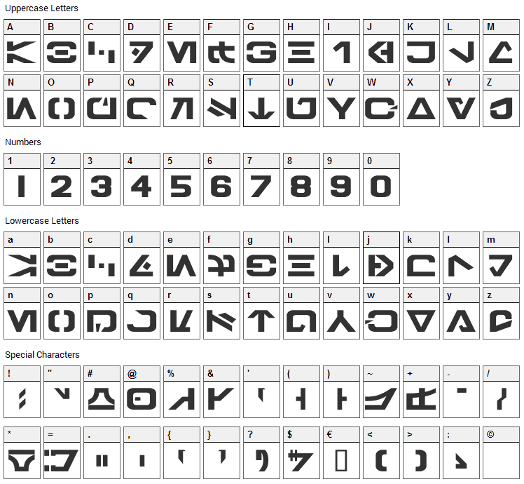 Galactic Basic Font Character Map