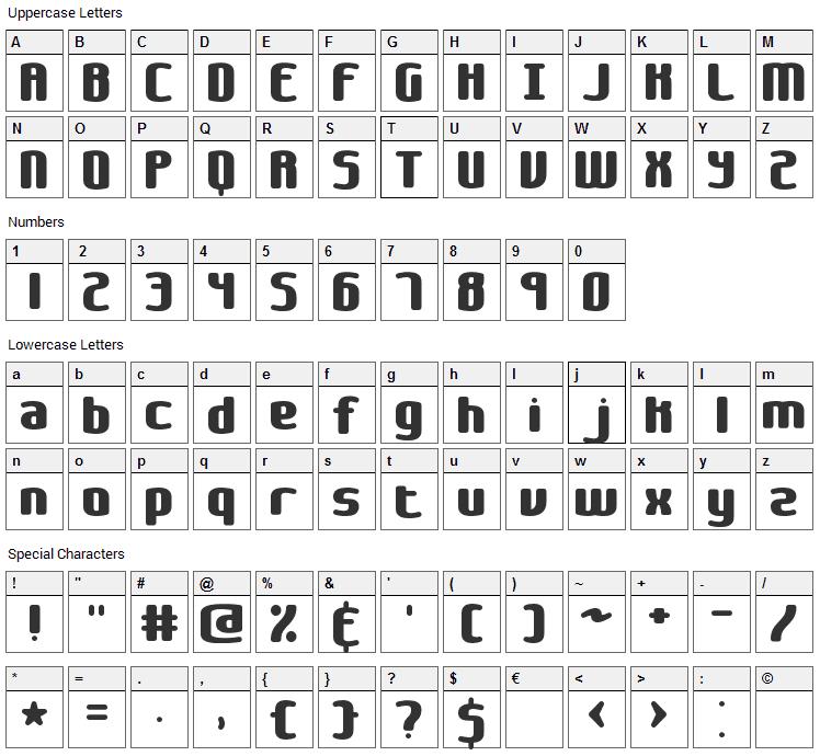 Galapogos Font Character Map