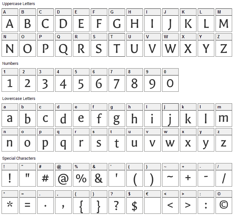 Galdeano Font Character Map