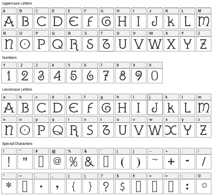 Gallaecia Font Character Map