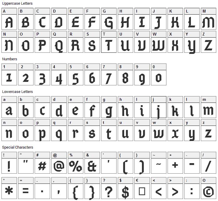 Gamaliel Font Character Map