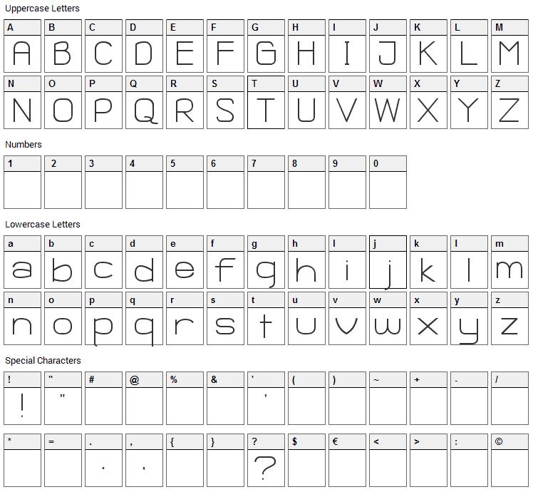 Ganix Apec Font Character Map