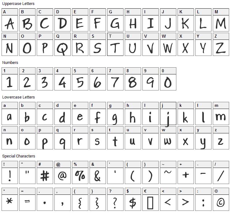 Gapstown Font Character Map