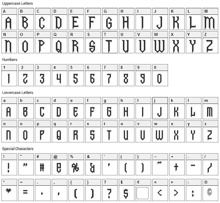 Gargoyles Font Character Map