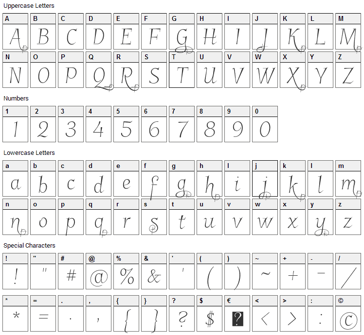 Garineldo Font Character Map