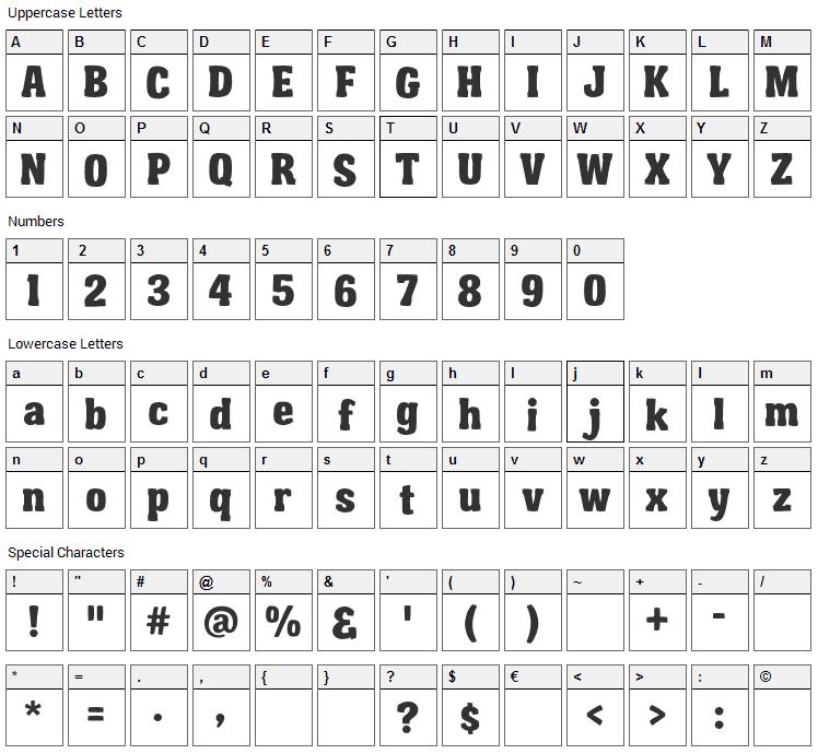 Garishing Worse Font Character Map
