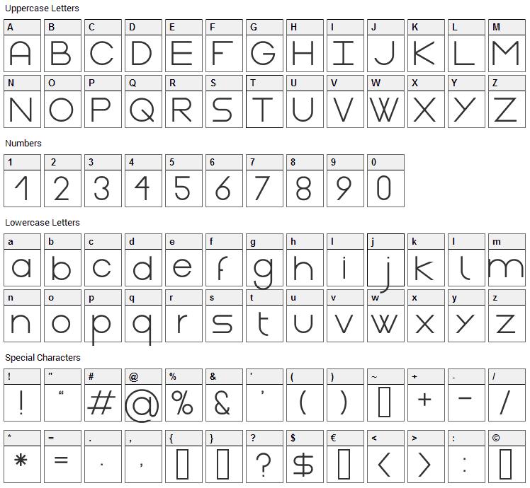 Gasalt Font Character Map