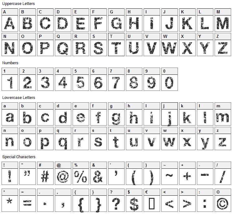 Gastada Font Character Map