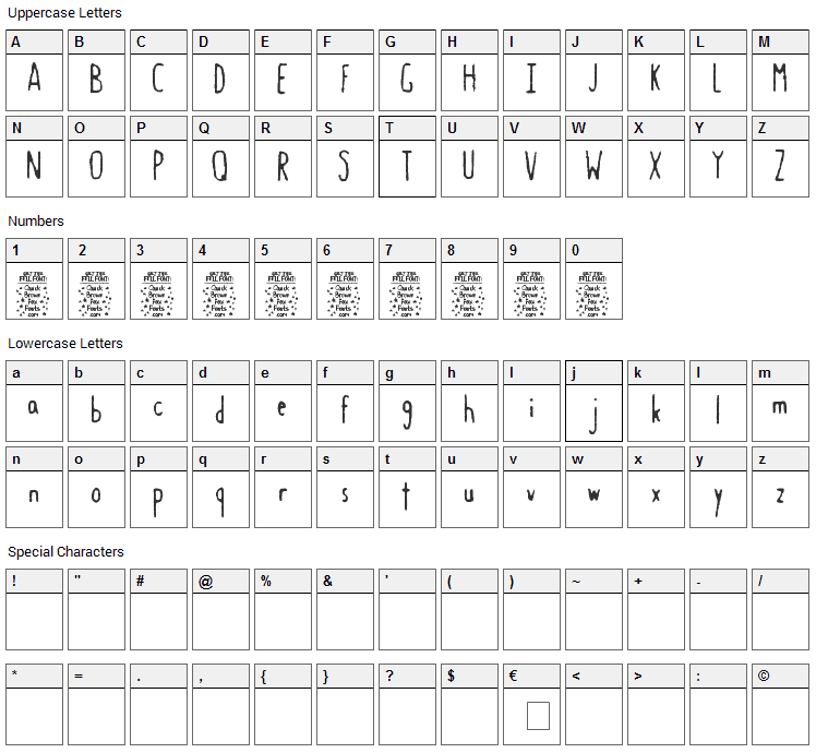 Gastro Intestinal Confluent Font Character Map