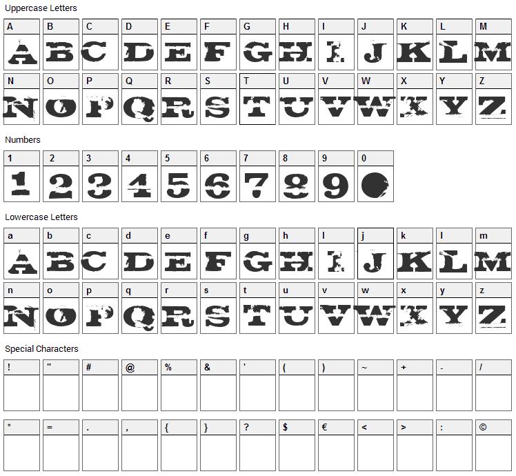 Gatecrasher Font Character Map