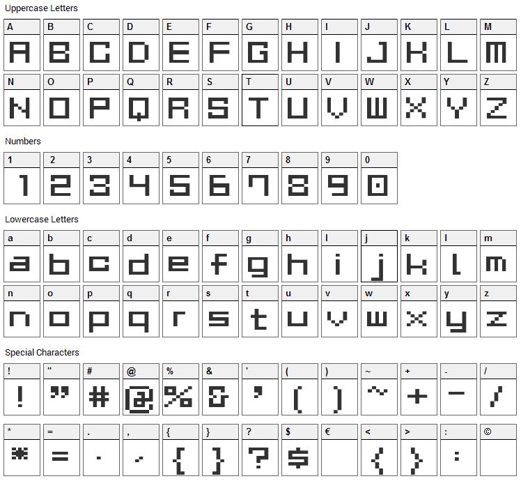 Gau Font Cube Font Character Map