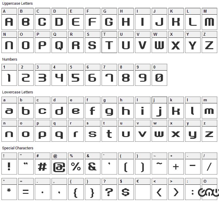 Gau Font Root Font Character Map
