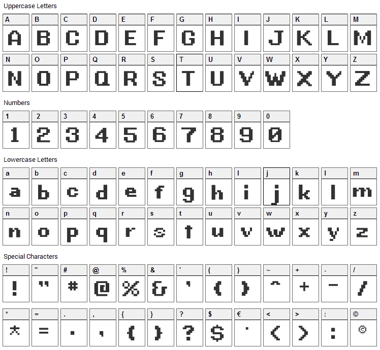G.B.Boot Font Character Map