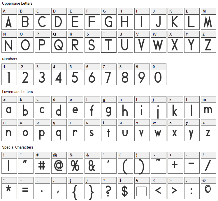 Geddes Font Character Map