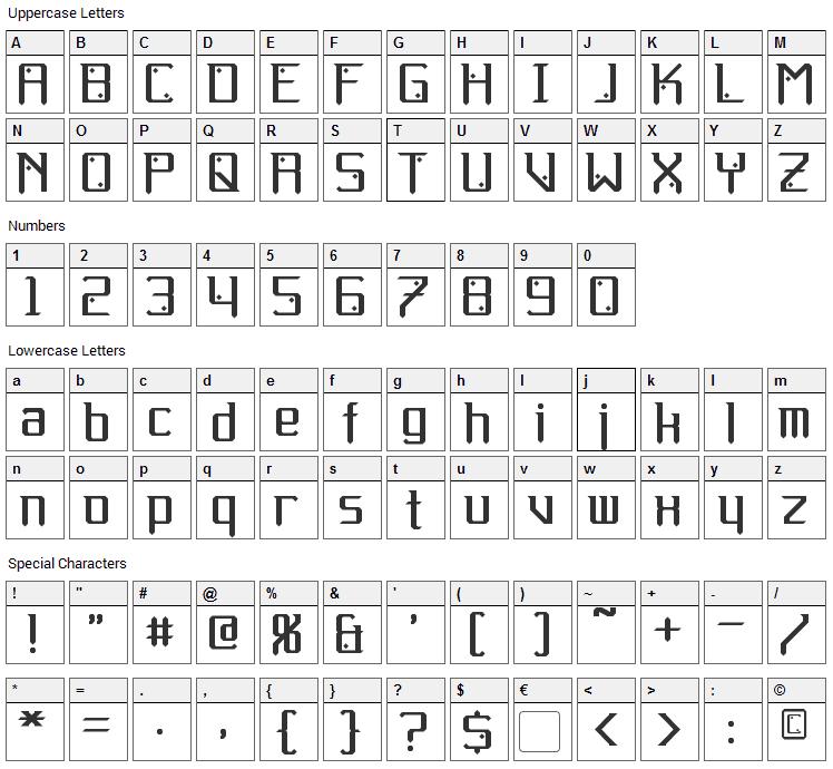 Gemcut Font Character Map