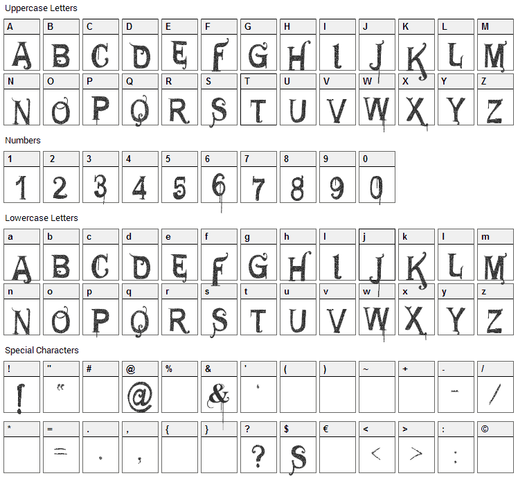 General Use Font Character Map