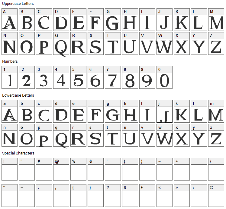 Genetic Engine Font Character Map