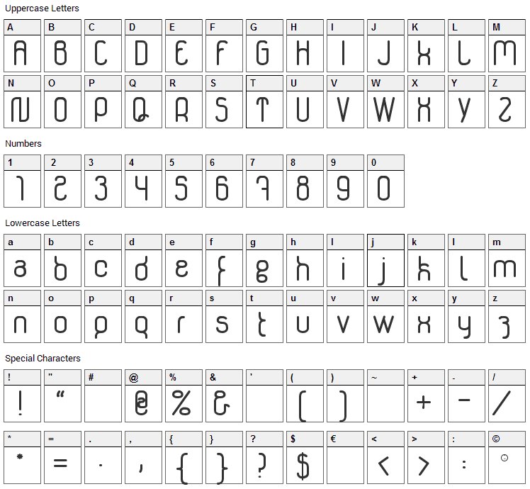 Genikas Font Character Map