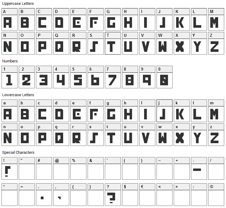 Genocide Font Character Map