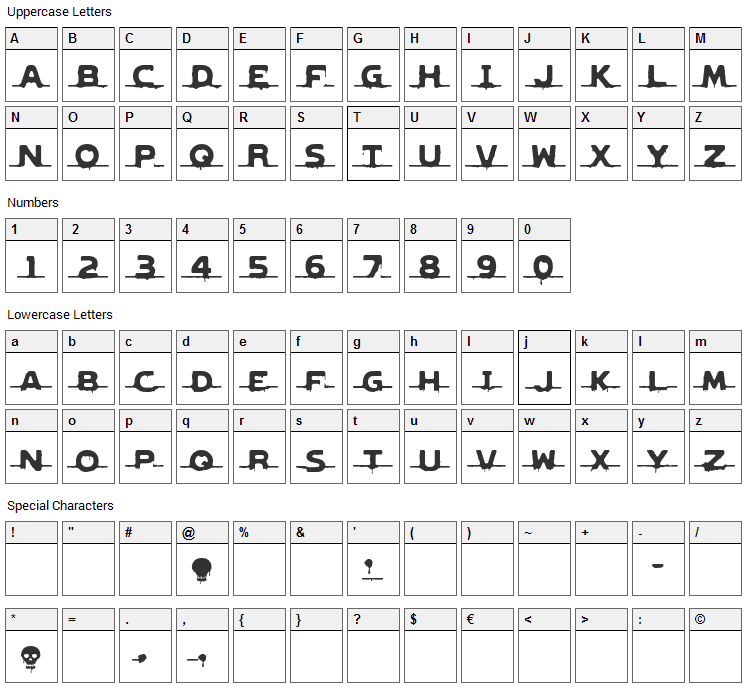 Genocide Rmx 2 Font Character Map