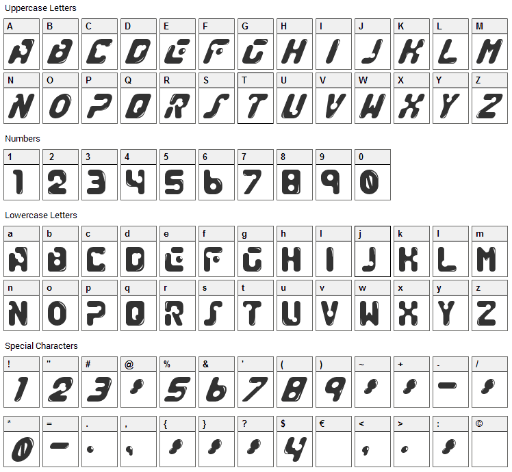 Genocide Rmx Font Character Map