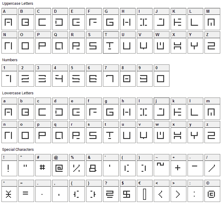 Genown Font Character Map