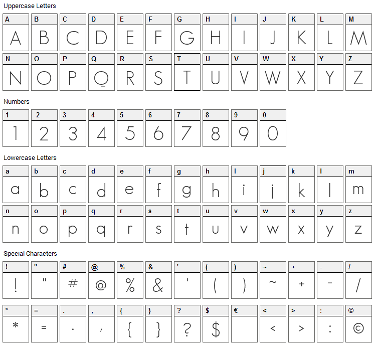 Geo Sans Light Font Character Map