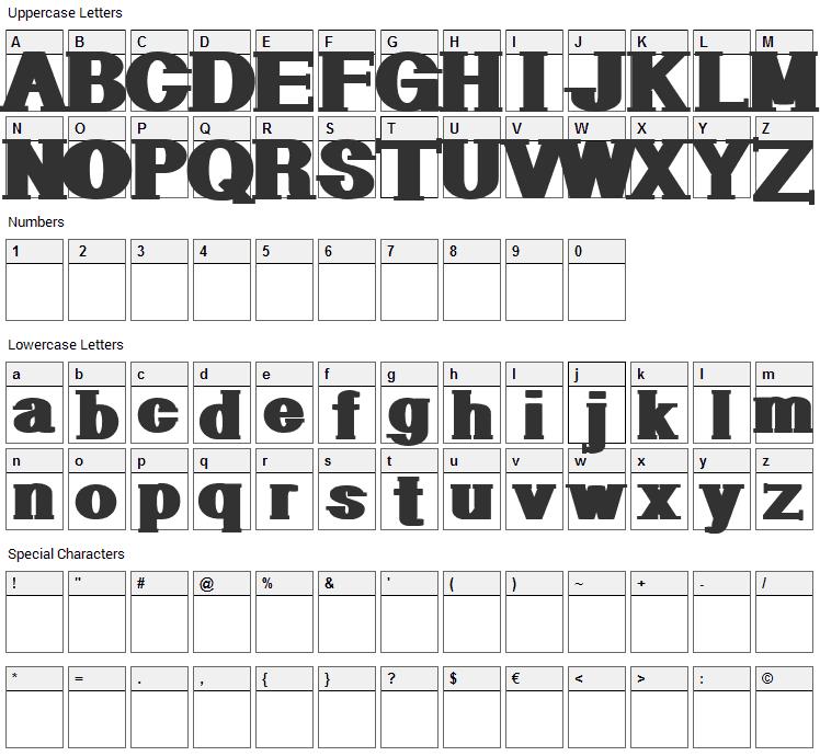 Geometric Serif Font Character Map