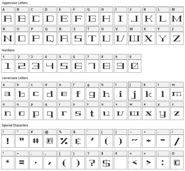 Geostar Fill Font Character Map