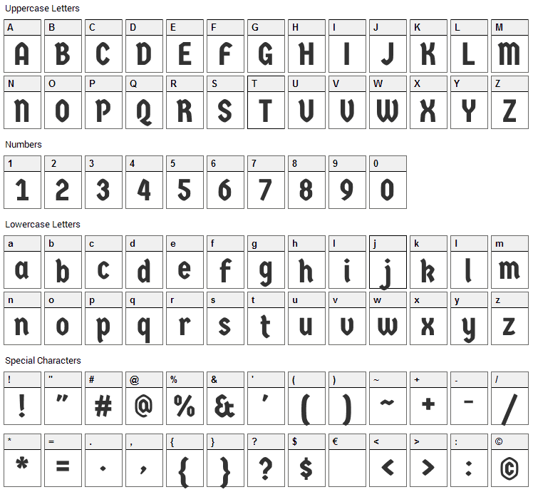 Germania One Font Character Map
