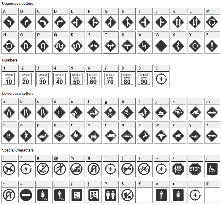 GG SignDings Font Character Map