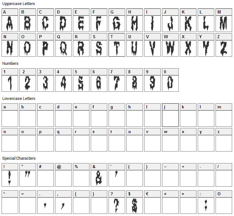 Ghost Bayou Font Character Map