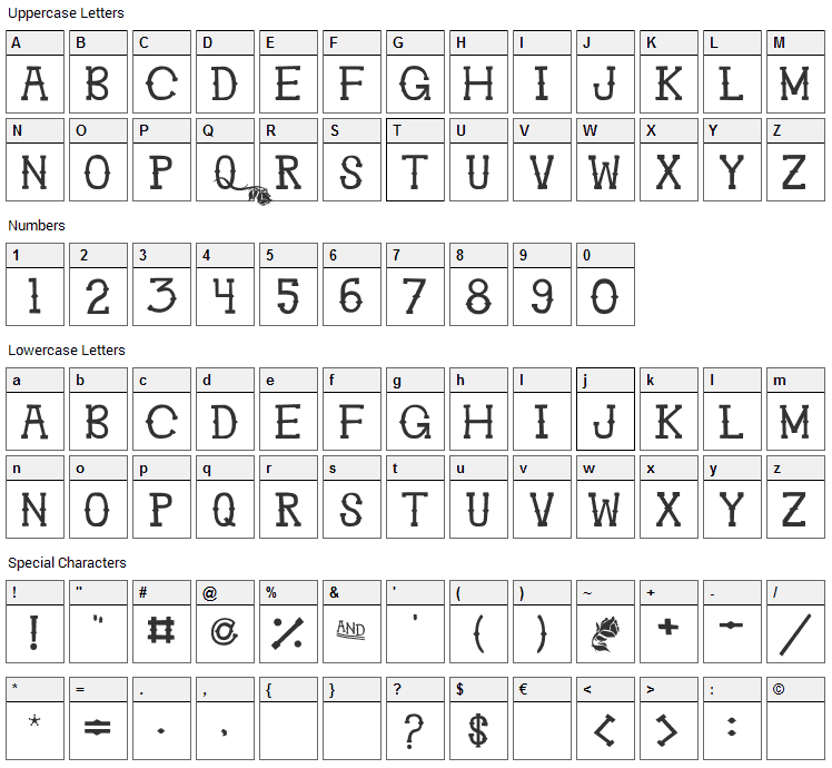 Ghosttown BC Font Character Map