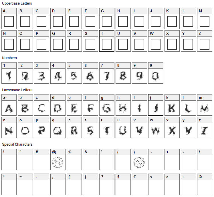 Ghoul Font Character Map