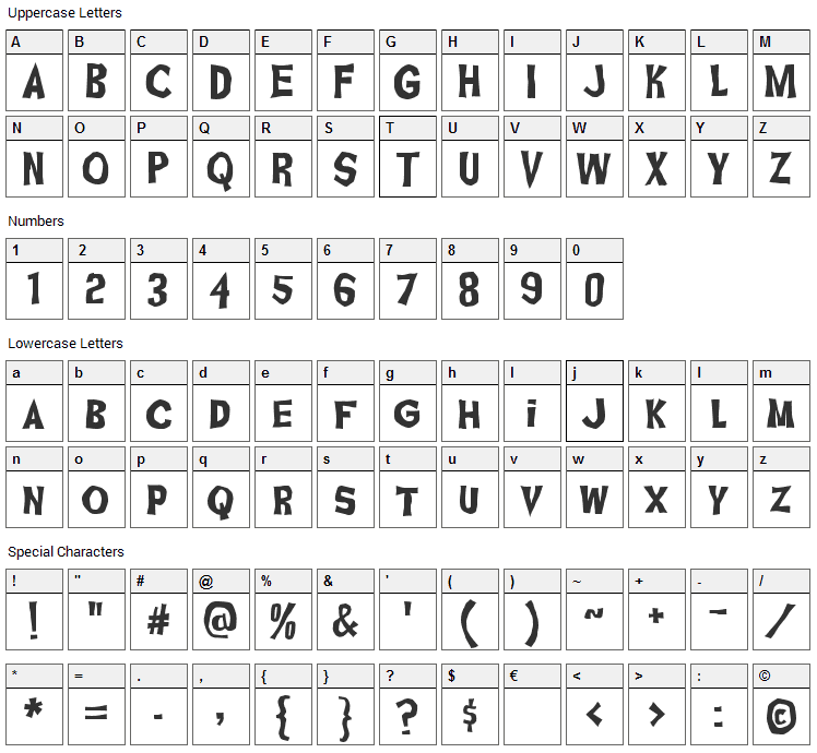 Ghoulish Fright Font Character Map