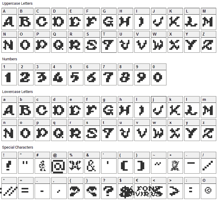 Ghouls Ghosts and Goblins Font Character Map