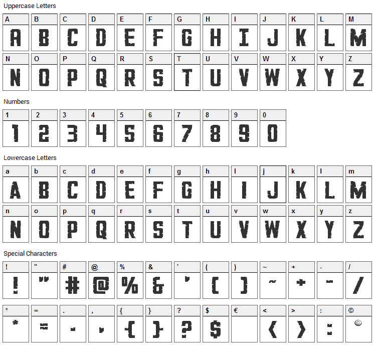 G.I. Incognito Font Character Map
