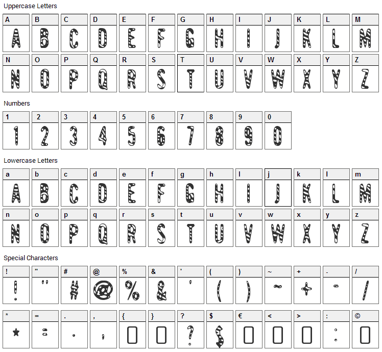 Giant Tigers Font Character Map
