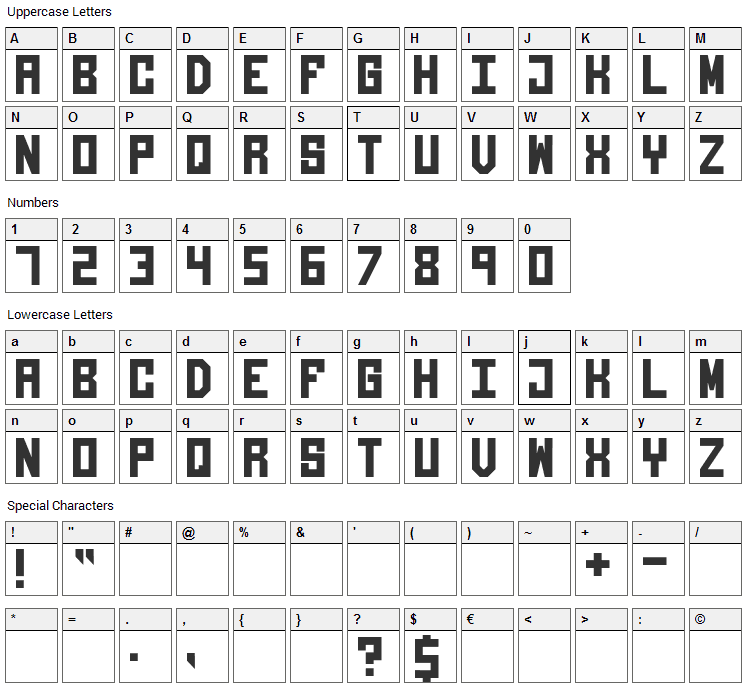 Giantypo Font Character Map