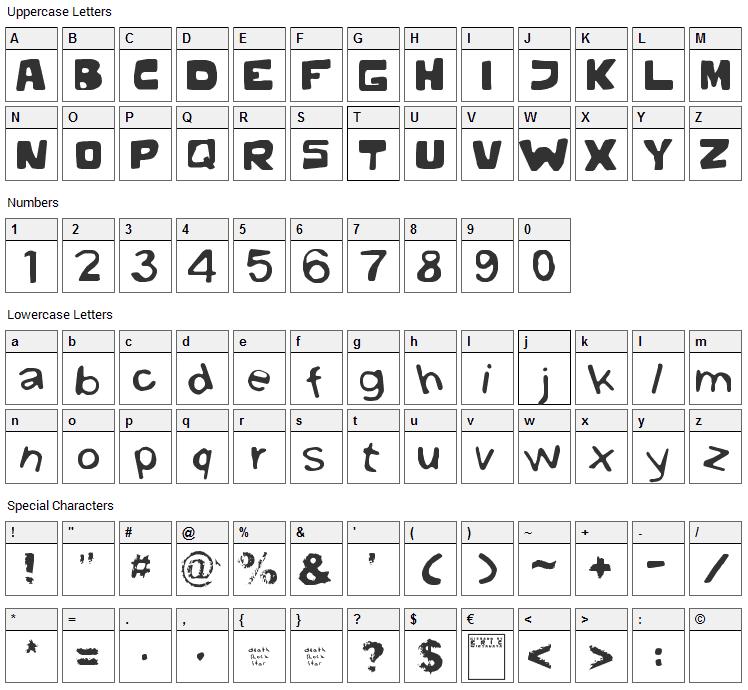 Gibbard Erc 01 Font Character Map