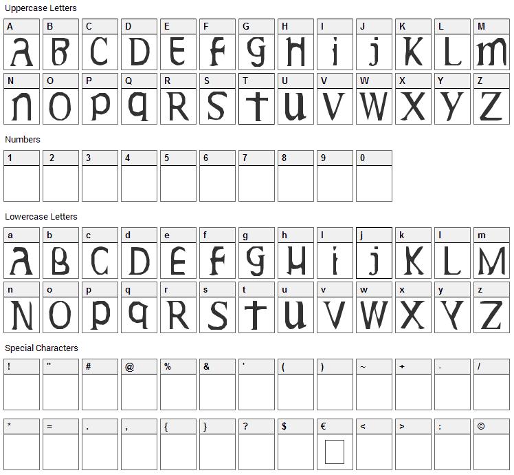 Gideon Plexus Font Character Map