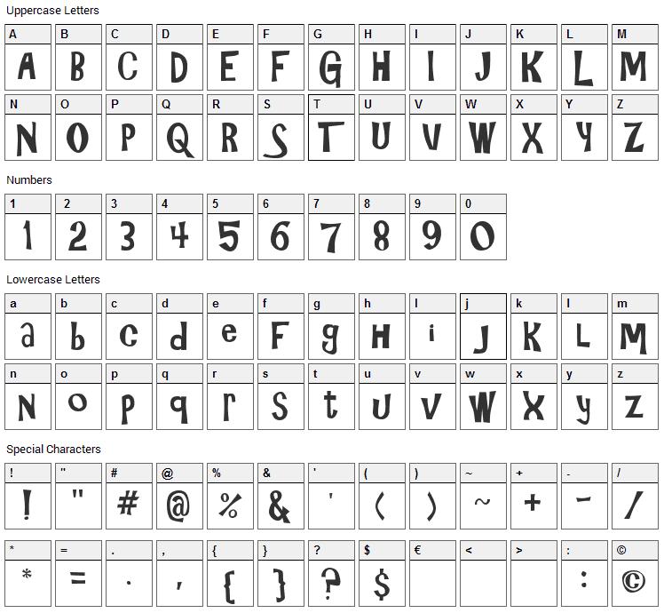 Gilligans Island Font Character Map