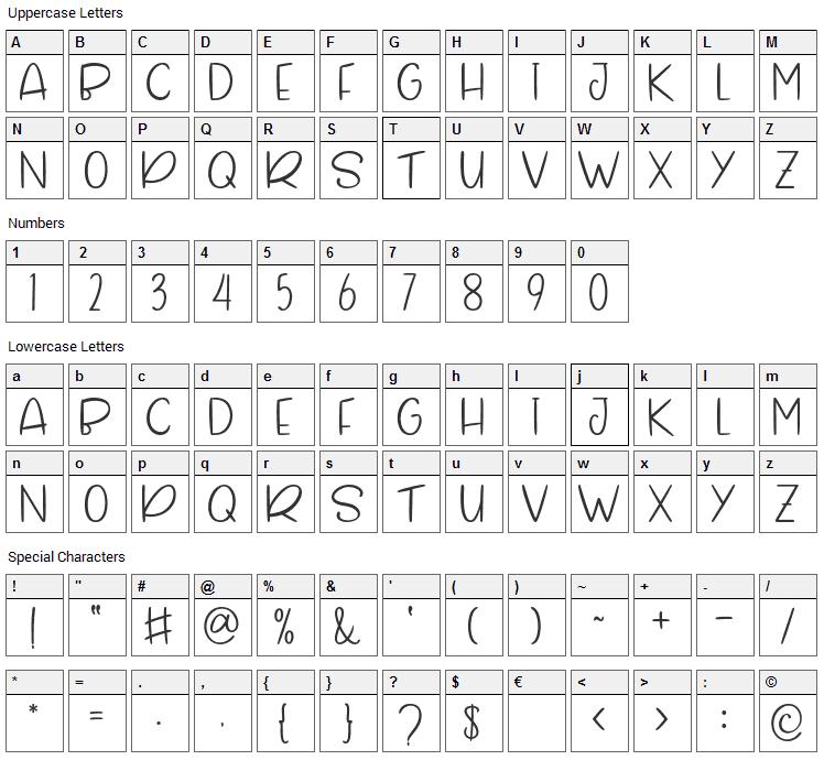 Gillmore Font Character Map