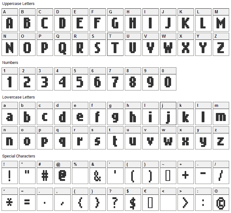 Gimenells Font Character Map