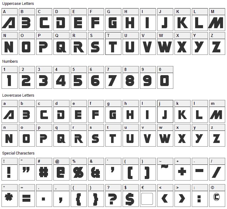 Gin Rai Font Character Map