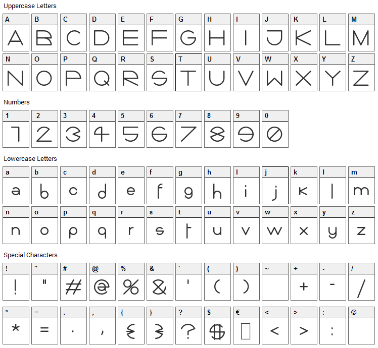 Giorgino Font Character Map