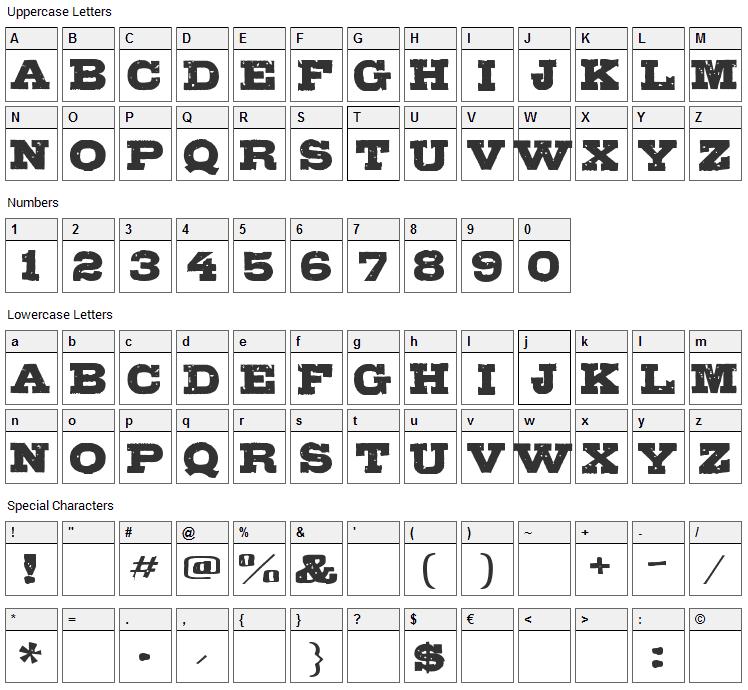 Gipsiero Font Character Map