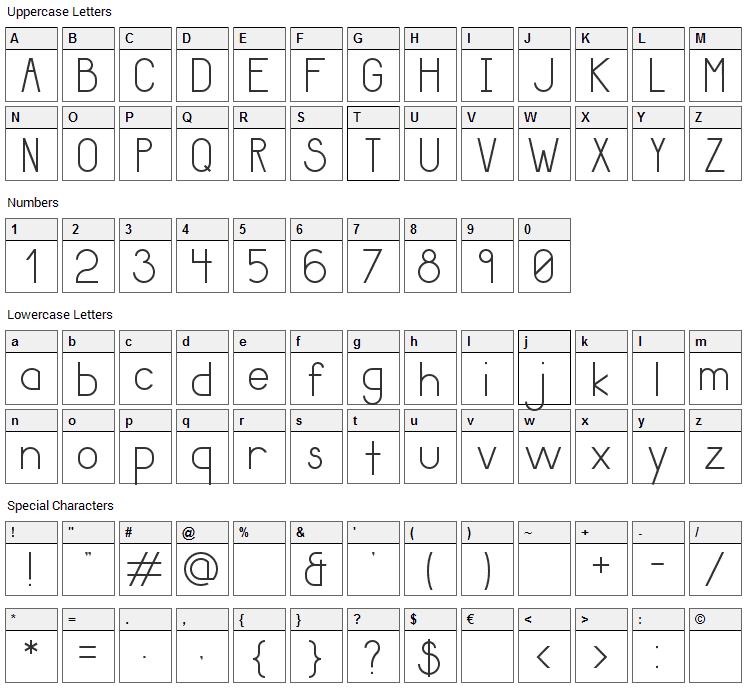 Giraffe Font Character Map