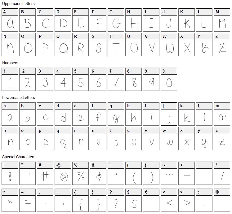 Girl Next Door Font Character Map