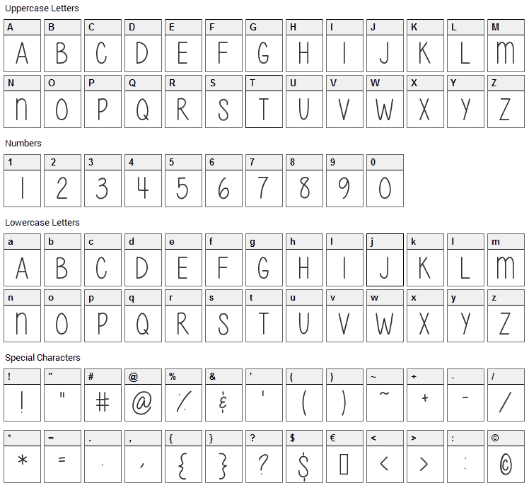Give It Your Heart Font Character Map